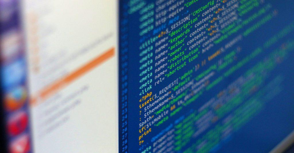 Computer program source code on computer screen